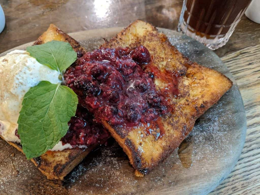 Brioche French Toast at Common Man Coffee Roasters.