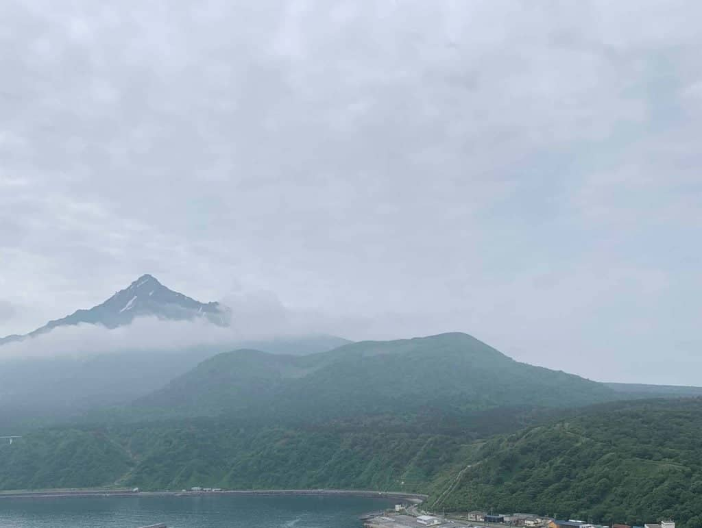 View of Mount Rishiri from Cape Peshi in Hokkaido.