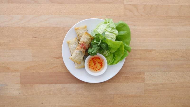 Vietnamese Deli in London. Portion of Veggie Spring Rolls