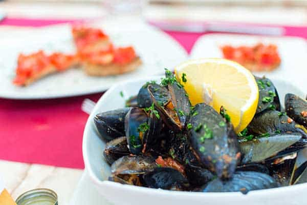 clams and mussels on a dinner table
