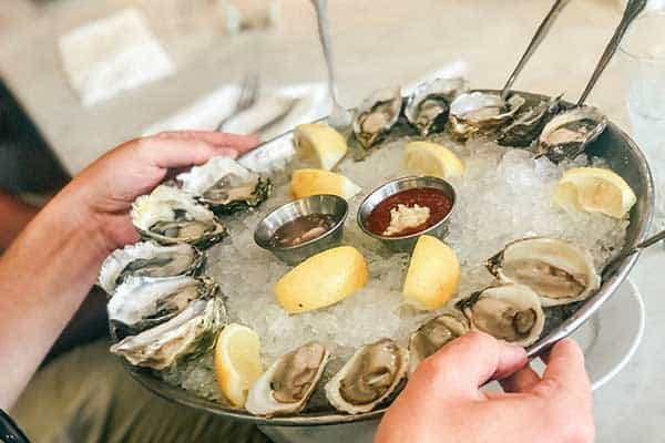 small oysters with lemons