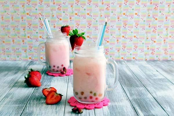strawberry rose milk boba