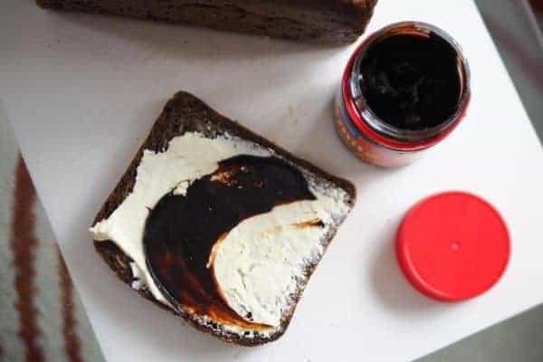 Marmite sandwich with cream cheese