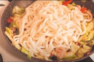 Noodles and Vegetables in Wok