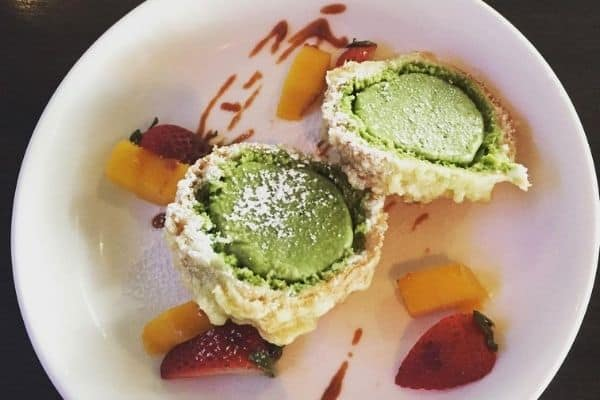 Deep Fried Matcha Green Tea Ice Cream with Fruits