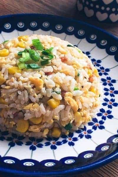 Japanese Fried Rice served on a plate