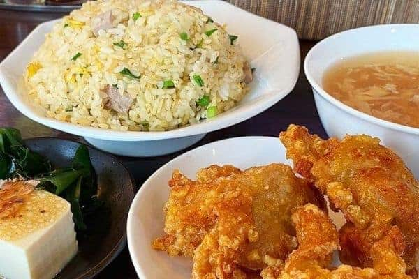 Japanese Fried Rice with Karaage Chicken, Tofu Salad, Soup on the side