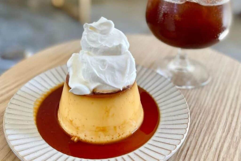 Japanese purin with whipped cream