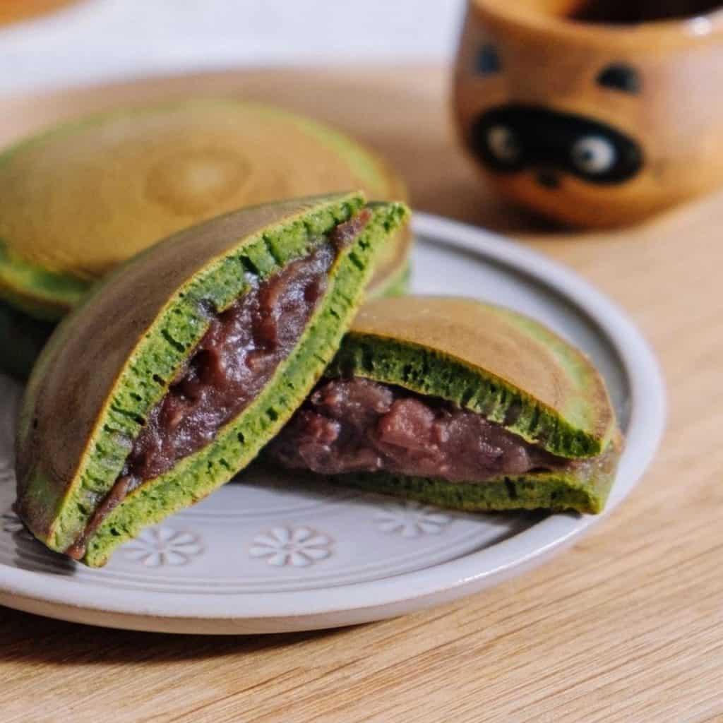 Matcha dorayaki with Tsubu-an filling