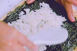 Spread rice on nori seaweed