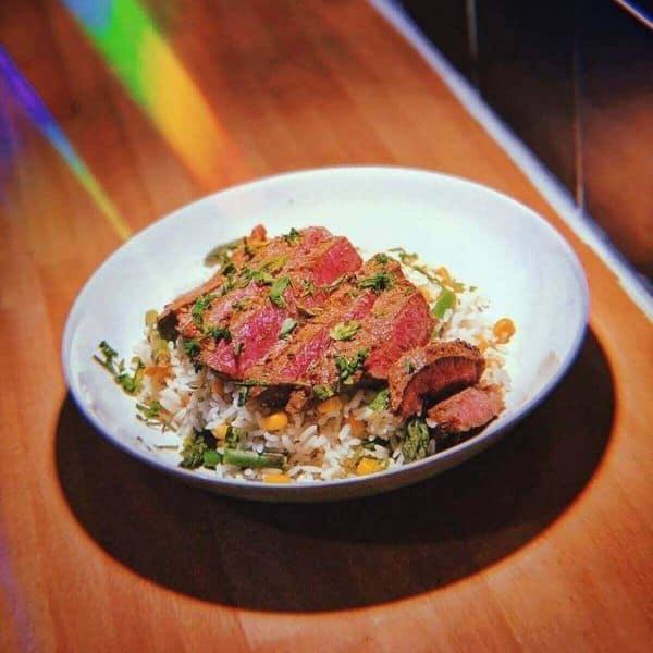 Steak over rice