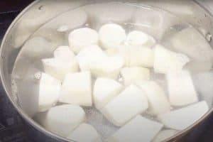 Boil the gabi roots until soft
