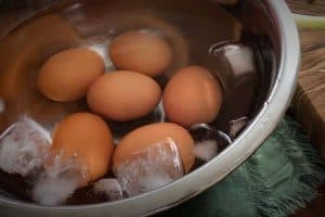 Cool the eggs in an ice water bath