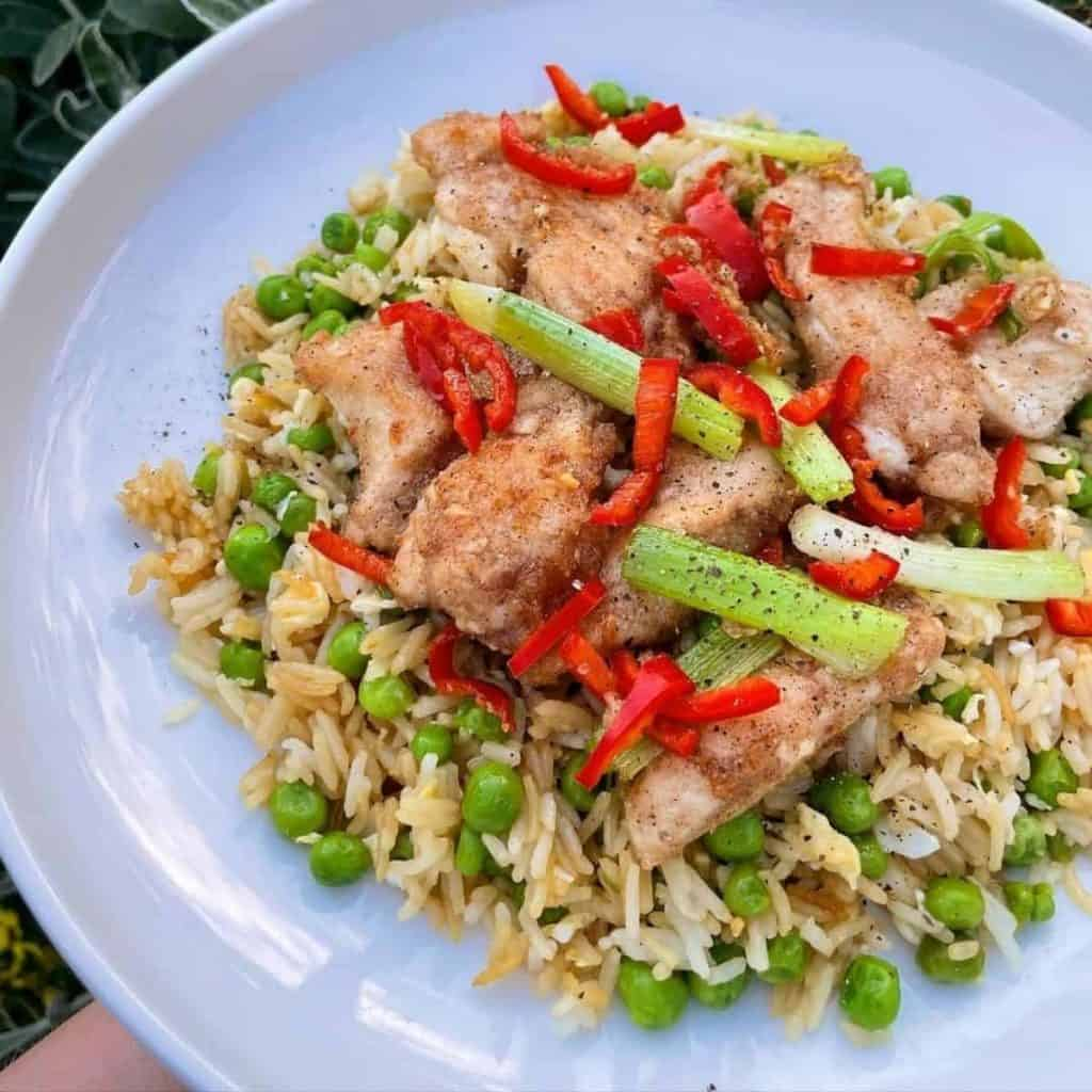 Home made Chinese fried chicken on fried rice