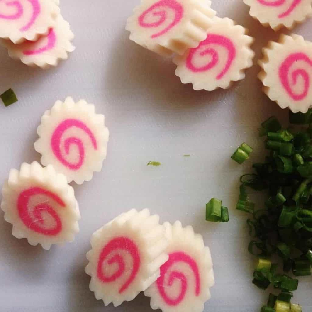 Jagged edges of the naruto fish cake makes it distinct from other kamaboko