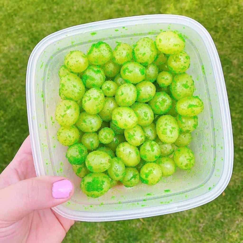 Lime flavoured frosted grapes
