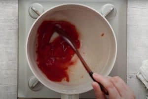 Mix the sauces over a medium heat until well combined