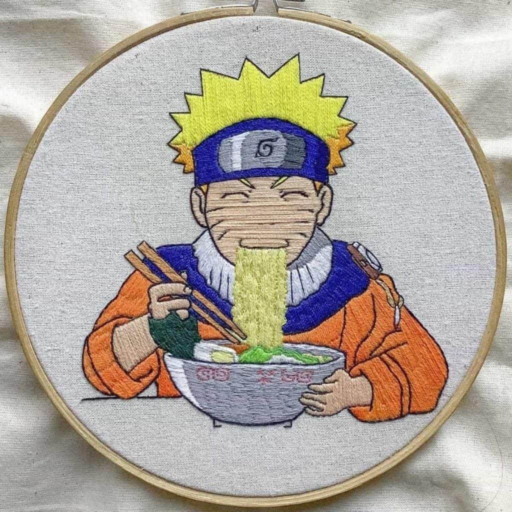 Naruto eating ramen sewing art