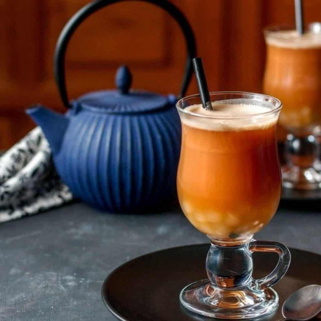 Okinawa milk tea with crystal boba