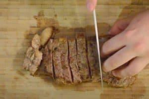 Slice the steak to bite-size pieces