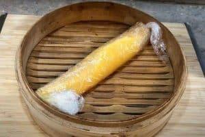 Steam the fish paste log