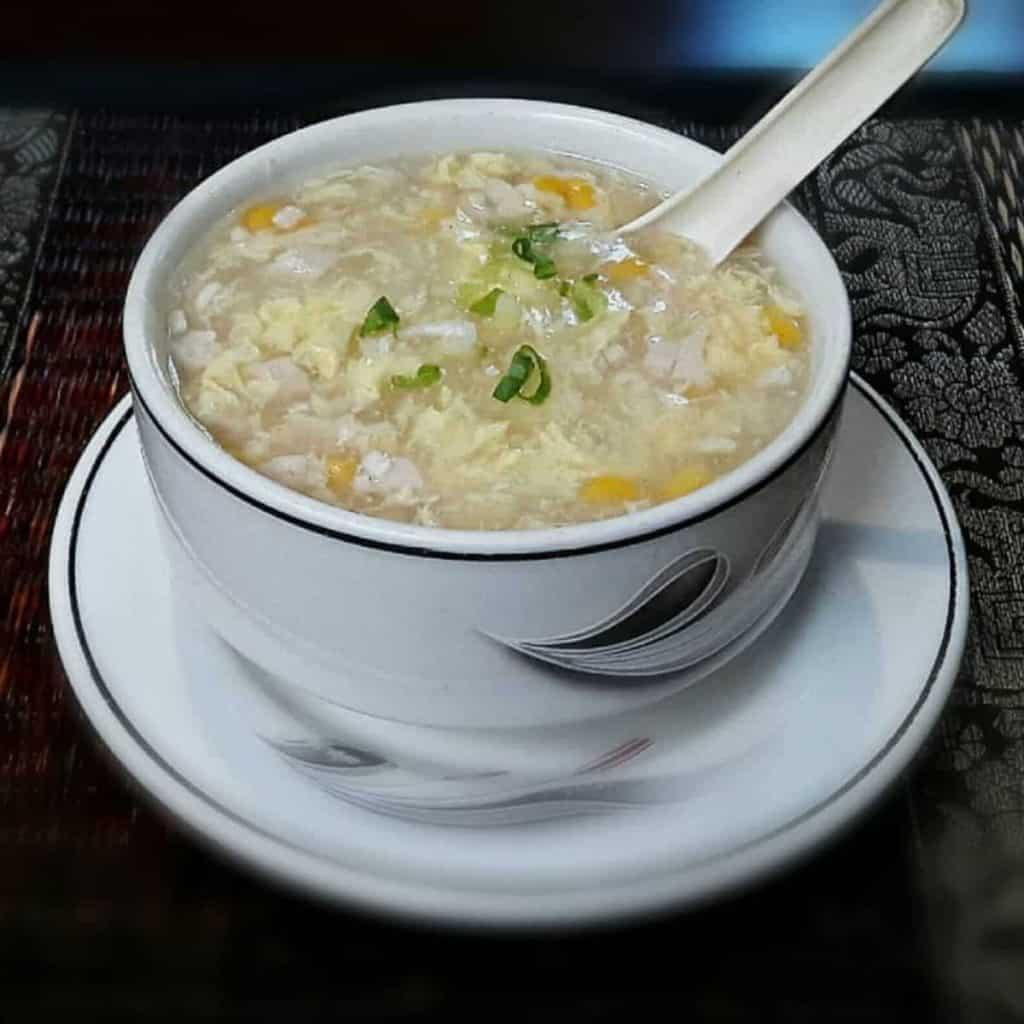 Corn soup in bowl