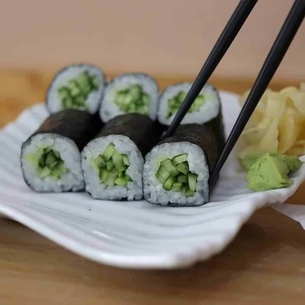 Cucumber Rolls with ginger and wasabi