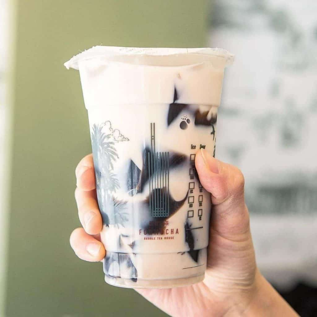 Grass jelly as a topping in boba drink