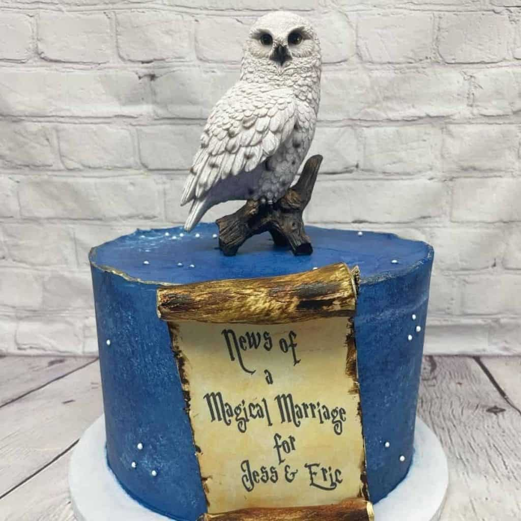Hedwig Perched on top dessert