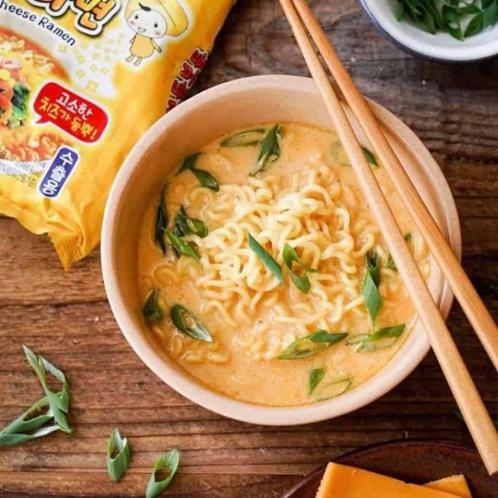 Ottogi cheese ramen with chopsticks