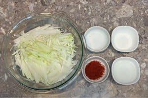 Prepare the ingredients, julienne the radish