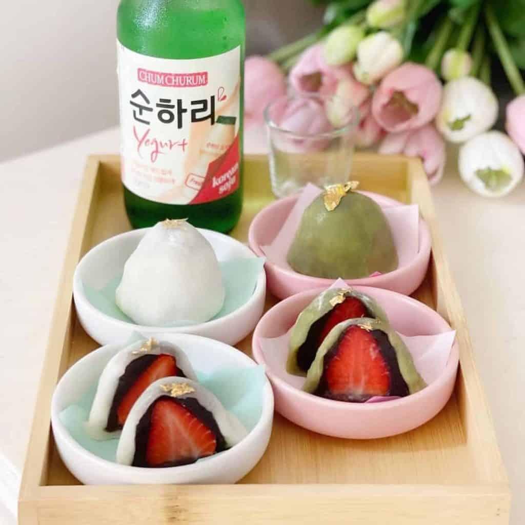 Strawberry mochi with Soju