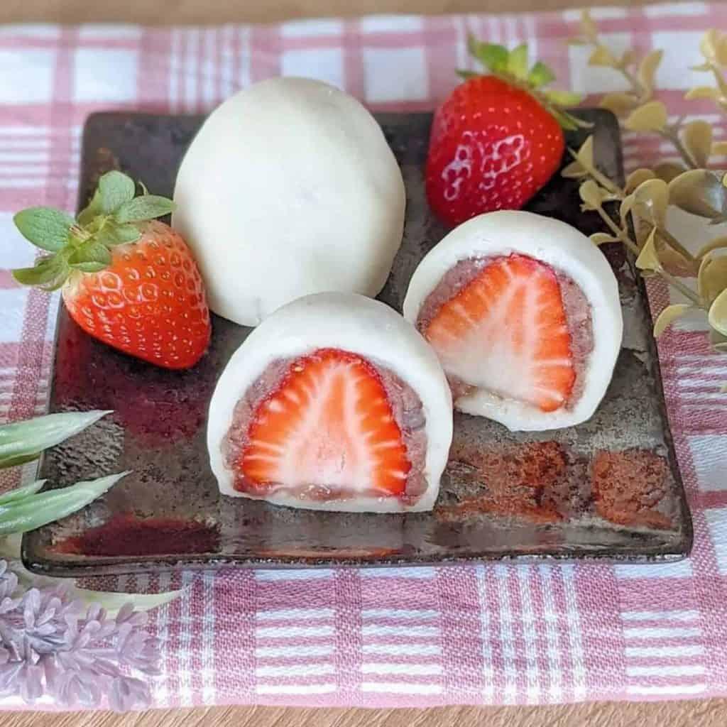 handmade ichigo daifuku with redbean